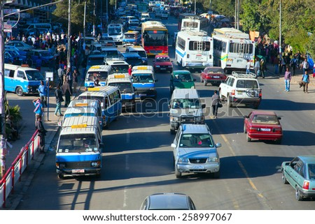 ETHIOPIA ADDIS ABABA DECEMDER 12,2013. Streets of the capital  in Ethiopia Addis Ababa  December 12,2013.  - stock photo