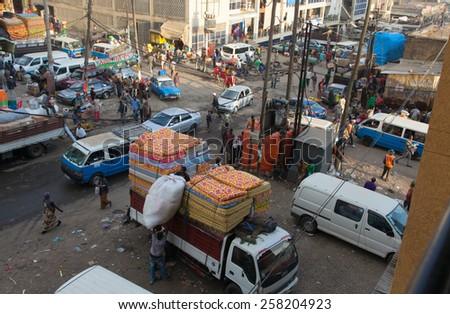 ETHIOPIA ADDIS ABABA,DECEMDER 27,2013.The largest African market-Merkato  in Ethiopia Addis Ababa December 27, 2013 - stock photo