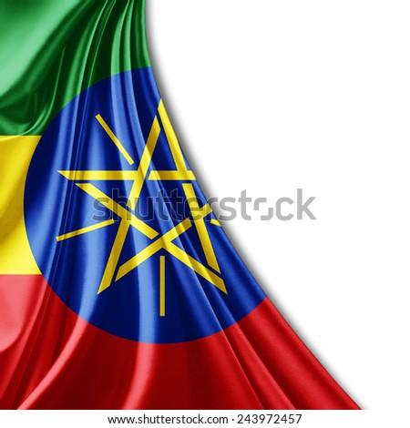 Ethiopia flag and white background - stock photo