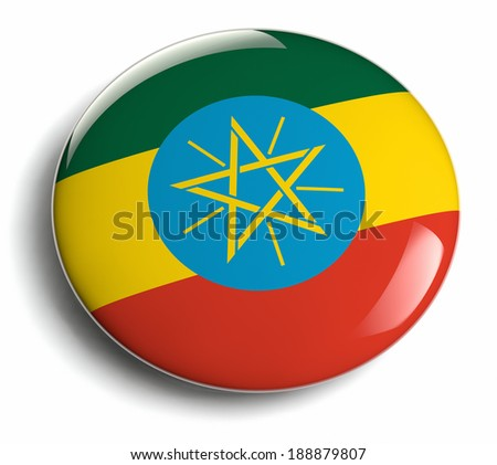 Ethiopia flag design round badge. - stock photo