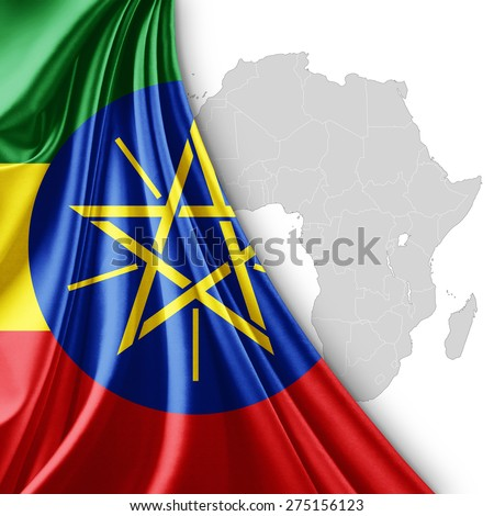 Ethiopia flag of silk with Africa map and white background - stock photo