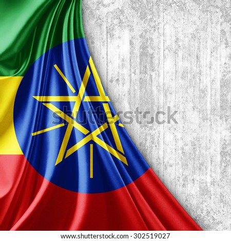 Ethiopia  flag of silk with copyspace for your text or images and wall background - stock photo