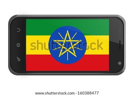 Ethiopia flag on smartphone screen isolated on white - stock photo
