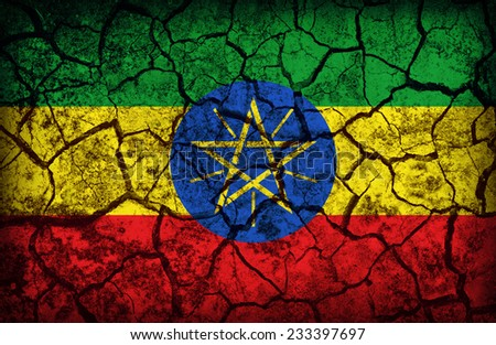 Ethiopia flag pattern on the crack soil texture ,retro vintage style - stock photo