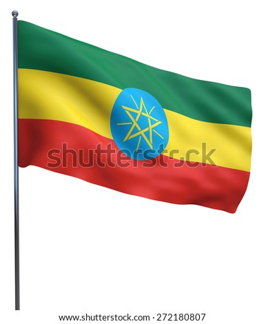 Ethiopia flag waving image isolated on white. Clipping path included. - stock photo