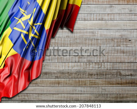 Ethiopia Flag with horizontal wood - stock photo