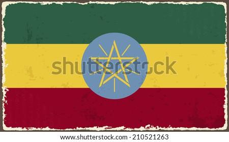 Ethiopia grunge flag. Raster version - stock photo