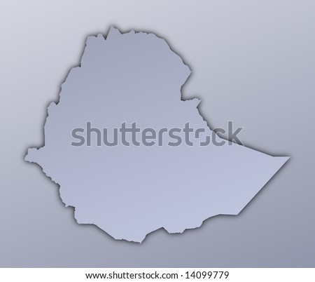 Ethiopia map filled with metallic gradient. Mercator projection. - stock photo