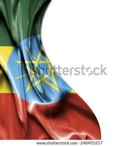 Ethiopia waving silky flag isolated on white background - stock photo