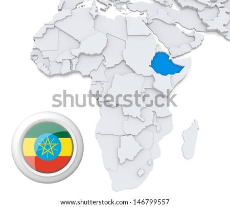 Ethiopia with national flag - stock photo
