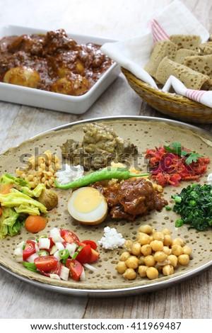 ethiopian cuisine - stock photo
