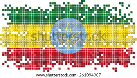 Ethiopian grunge tile flag. Raster version - stock photo