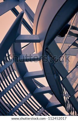 Ethmoid roof of glass, concrete and metal. - stock photo
