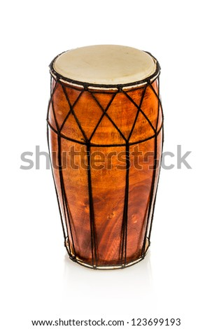 Ethnic drum isolated on white background - stock photo