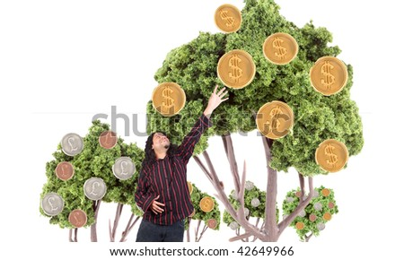 Ethnic looking man is reaching for the dollars that are growing on trees - stock photo