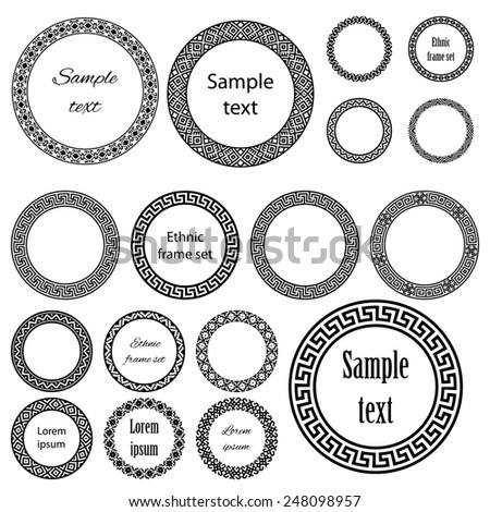 Ethnic round frames in mega pack. Decoration elements of different size with sample text in huge collection. Monochromatic raster version on white background  - stock photo
