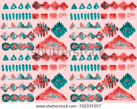 Ethnic seamless pattern. Ethnic boho ornament. Repeating background. Tribal art print. Fabric, cloth design, wallpaper, wrapping. Watercolor Hand painted - stock photo
