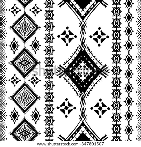 Ethnic seamless pattern. Ethno boho repeating ornament. Tribal art background. Abstract texture. Fabric, cloth design, wallpaper, wrapping - stock photo