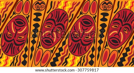 Ethnic seamless pattern, tribal style. African mask tiled background - stock photo