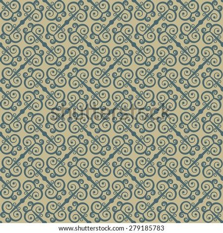 Ethnic seamless pattern with swirls. Stylized traditional oriental and Chinese ornaments. Rasterized version. - stock photo