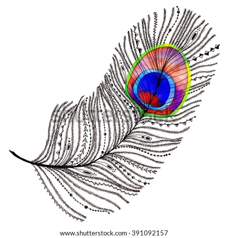 Ethnic tribal peacock feather. Raster watercolor illustration. Unusual design element for luxury. - stock photo