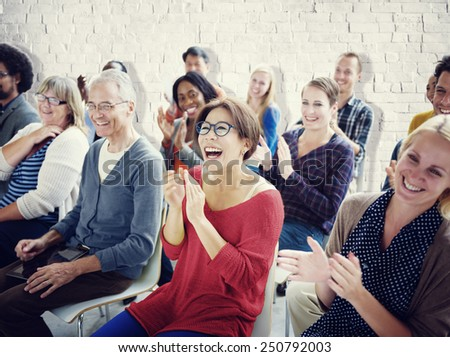 Ethnicity Audience Crowd Seminar Cheerful Community Concept - stock photo