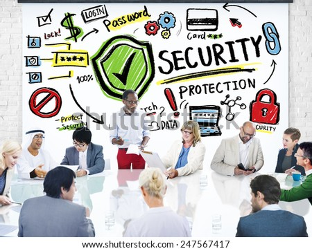 Ethnicity Business People Conference Discussion Security Protection Concept - stock photo