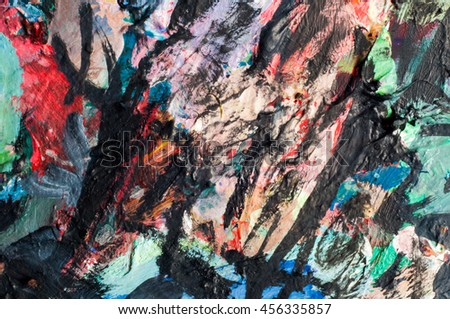 Ethnography, The picture painted in oils. abstract drawing, paint a picture in oils - stock photo