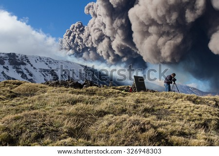 Etna Eruption, Sicilian Volcano - stock photo