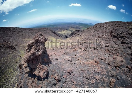 Etna Park lava channel one of eruptive mouths on 1605, Sicily - stock photo