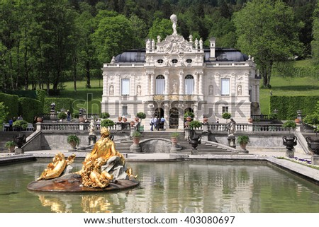 ETTAL,GERMANY- MAY 23: Linderhof Palace and garden on May 23, 2011 in Ettal, Germany. It is one of the most visited royal palaces built by the Bavarian monarch King Ludwig II in Germany. - stock photo