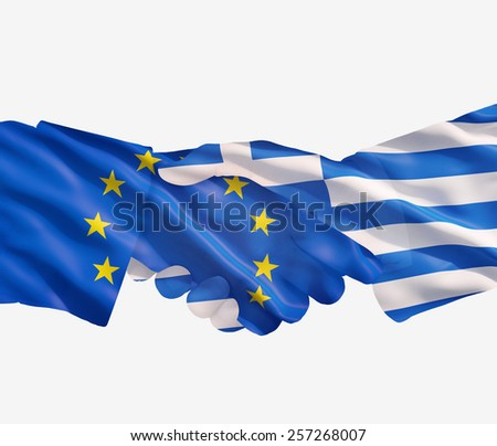 EU and Greece  flags with a handshake on a white background - stock photo
