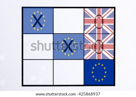EU and United Kingdom flag on the board of Tic Tac Toe Game, concept of Brexit referendum - stock photo