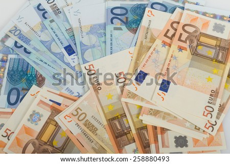 EU banknotes in bills of 50 and 20 euro. - stock photo