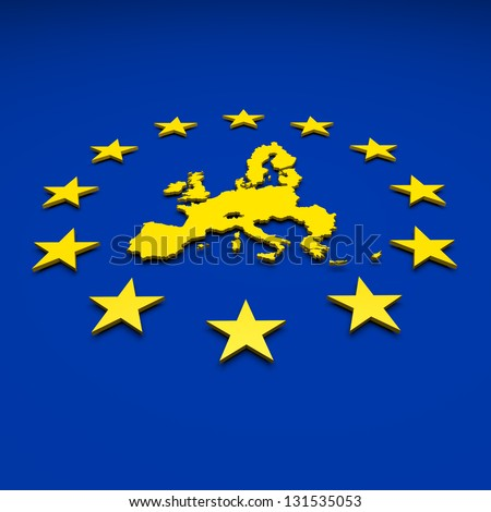 Eu, europe union, map - stock photo
