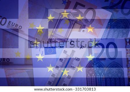 Eu flag, Greece flag, thermometer and euros - Finance/Business concept - stock photo