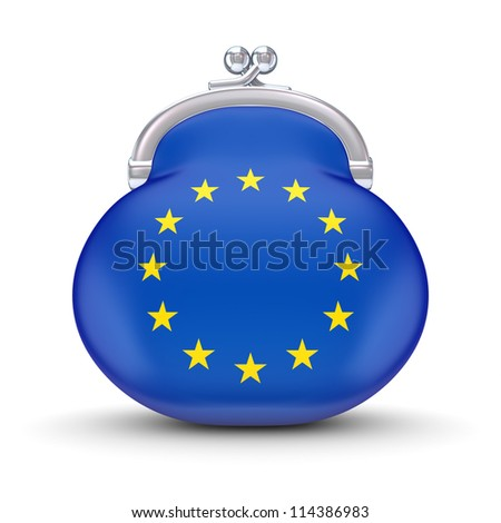 EU flag on a wallet.Isolated on white background.3d rendered. - stock photo
