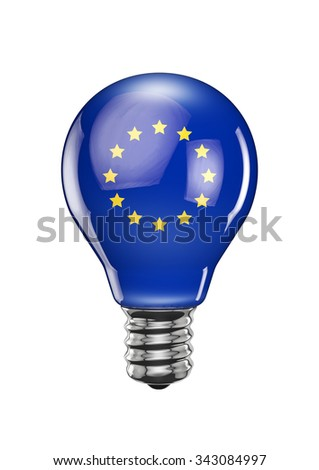 EU light bulb / 3D render of light bulb with European Union flag - stock photo