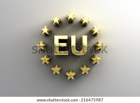 EU sign with stars - gold 3D quality render on the wall background with soft shadow. - stock photo