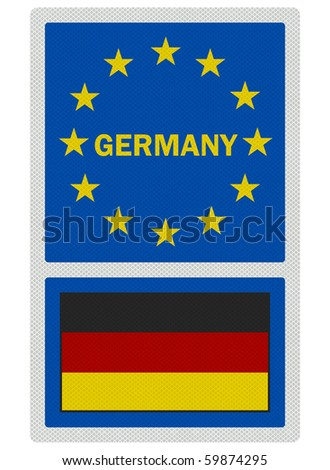 EU signs series - Germany (in English language), photo realistic, isolated on white - stock photo