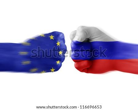 EU x Russia - stock photo