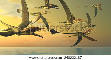 Eudimorphodon Dinosaur Flock - A flock of Eudimorphodon flying reptiles search for fish prey in the Triassic Era. - stock photo