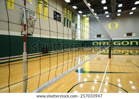 EUGENE, OR - February 20, 2015: Matthew Knight Arena on the University of Oregon campus.Volleyball & Basketball pavilion. - stock photo