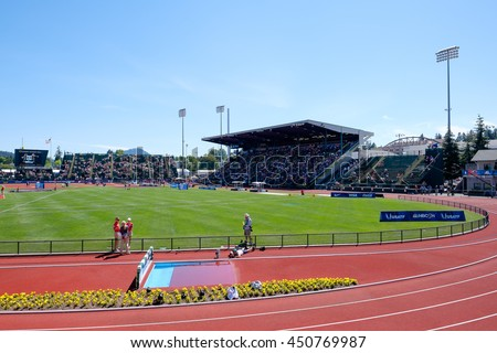 EUGENE, OR - JULY 4, 2016: Overall view of the stadium during day 4 of the USATF Olympic Trials for track and field at Historic Hayward Field in Eugene, Oregon. - stock photo