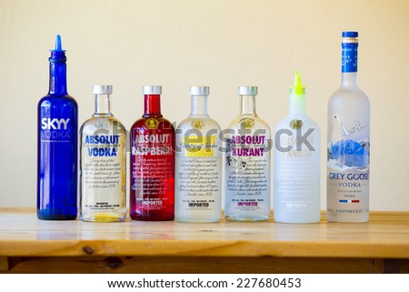 EUGENE, OR - JUNE 23, 2014: Vodka selection at a bar including seven types of vodkas. - stock photo