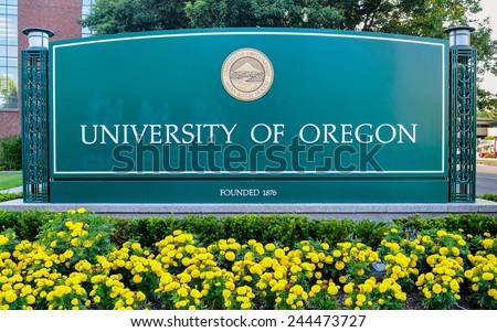 Eugene, Oregon, USA - Aug. 11, 2013: The University of Oregon. Founded in 1876, the University of Oregon is a public flagship research university located in Eugene, Oregon, USA.  - stock photo