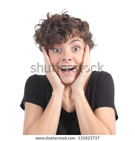 Euphoric expression of a woman with her hands on the face on a white isolated background - stock photo