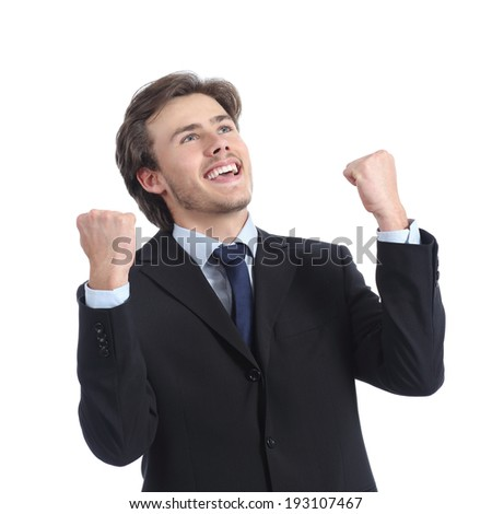 Euphoric successful businessman raising arms isolated on a white background - stock photo