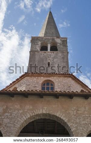Euphrasian Basilica in Porec, Istria, Croatia. UNESCO World Heritage Site. - stock photo