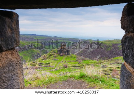 Eurasia, Caucasus region, Armenia, Aragatsotn province, church at Amberd 7th-century fortress located on the slopes of Mt Aragat - stock photo